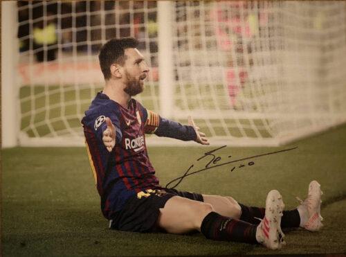 Messi Signed 600 Goals Canvas